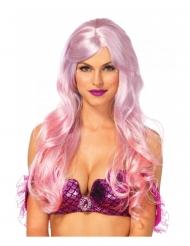 Peruca luxo rosa sereia mulher