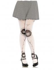 Collants boneca articulada fissurado branco mulher
