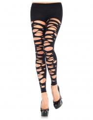 Collants sem pé opaco farrapos preto mulher