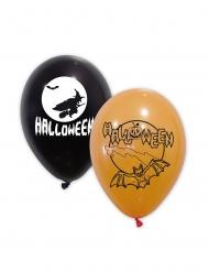 10 Balões látex pretos e cor de laranja Halloween 30 cm