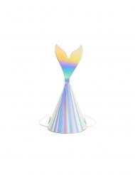 6 Chapéus de festa cauda de sereia holográfica 8 x 18 cm