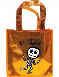 Saco com purpurinas laranja esqueleto
