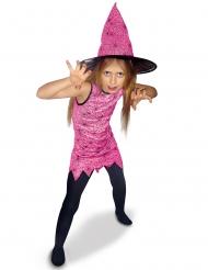 Disfarce bruxa cor-de-rosa menina
