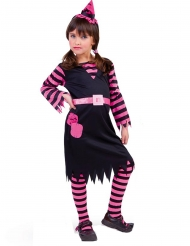 Disfarce bruxa preto e rosa menina