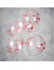 5 Balões de látex transparentes manchas de sangue 30 cm