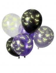 6 Balões látex morcego fosforescente 30 cm