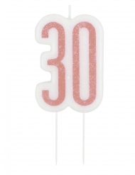 Vela de aniversário em espeto 30 anos rosa brilhante 7 cm