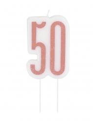 Vela de aniversário em espeto 50 anos rosa brilhante 7 cm