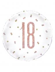 Balão de alumínio 18 branco e rosa com brilhantes 45 cm