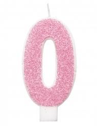 Vela de aniversário dígito rosa brilhantes 7 cm