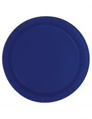 20 Pratos pequenos em cartão azul marinho 18 cm