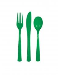 18 Talheres de plástico verde