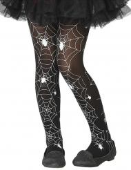 Collants telas de aranha preto e branco criança