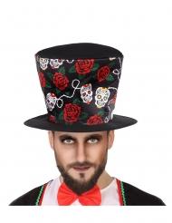 Chapéu alto Dia de los muertos preto adulto