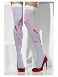Meias opacas branco com manchas de sangue mulher