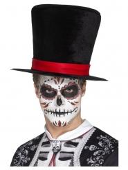 Chapéu alto veludo Dia de los muertos adulto