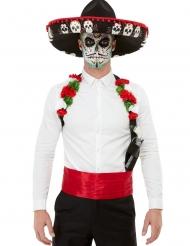 Kit acessórios e chapéu Dia de los muertos adulto