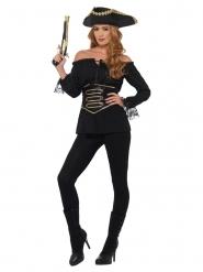 Camisa pirata preto luxo mulher