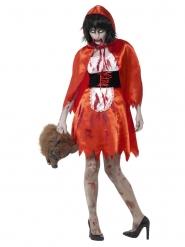 Disfarce capuchinho vermelho zombie mulher
