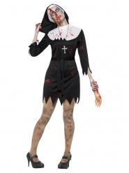 Disfarce freira zombie preto mulher