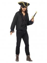 Camisa pirata preto luxo homem