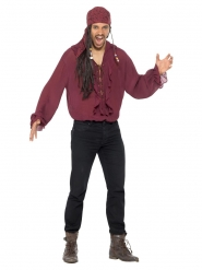 Camisa pirata bordô luxo homem