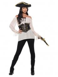 Blusa pirata marfim luxo mulher