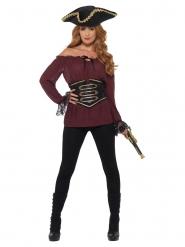 Camisa pirata bordô luxo mulher
