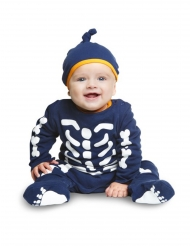 Disfarce macacão pequeno esqueleto azul bebé