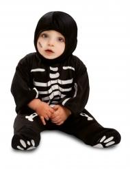 Disfarce macacão pequeno esqueleto preto bebé