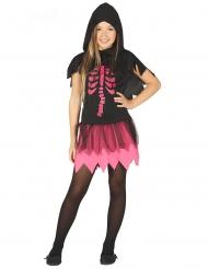 Disfarce vestido esqueleto preto e fuchsia menina