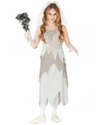 Disfarce noiva fantasma cinzenta menina