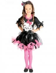 Disfarce tutu preto e rosa caveira fofinha menina