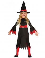 Disfarce bruxa com chapéu preto e vermelho menina