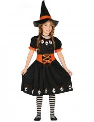 Disfarce linda pequena bruxa com chapéu preto e cor de laranja menina