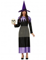 Disfarce bruxa com chapéu preto e lilás mulher