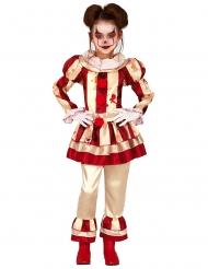 Disfarce palhaço aterrador vermelho e branco menina