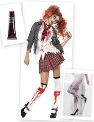 Pack disfarce e acessórios de zombie estudante mulher