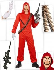 Pack disfarce ladrão vermelho completo adulto