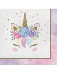 16 Guardanapos de papel unicórnio mágico branco 33 x 33 cm