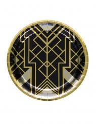 8 Pratos de cartão anos 20 preto e dourado 23 cm