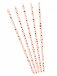 10 Palhinhas em cartão rosa às riscas dourado metalizado 19,5 cm