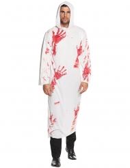 Disfarce túnica com capuz sangrenta adulto