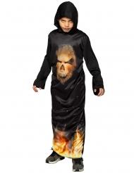 Disfarce túnica com capuz caveira ardente criança