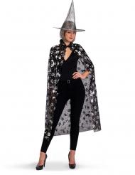 Set bruxa chapéu e capa preto e prateado mulher