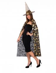 Set bruxa chapéu e capa preto e dourado mulher