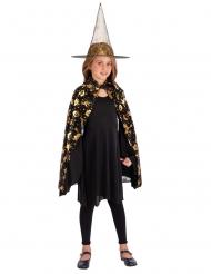 Conjunto chapéu e capa preta e dourado menina