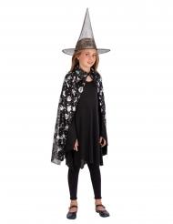 Conjunto chapéu e capa peta e prateado menina