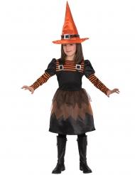Disfarce bruxa laranja e preto menina