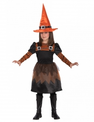 Disfarce pequena bruxa fofinha laranja menina